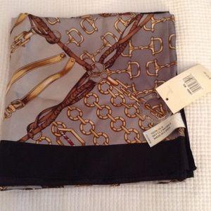Adrienne Landau 100% Silk Scarf Equestrian motif